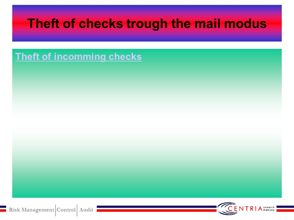 Theft of checks trough the mail modus