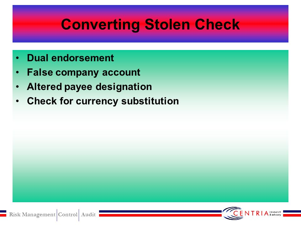 Converting Stolen Check
