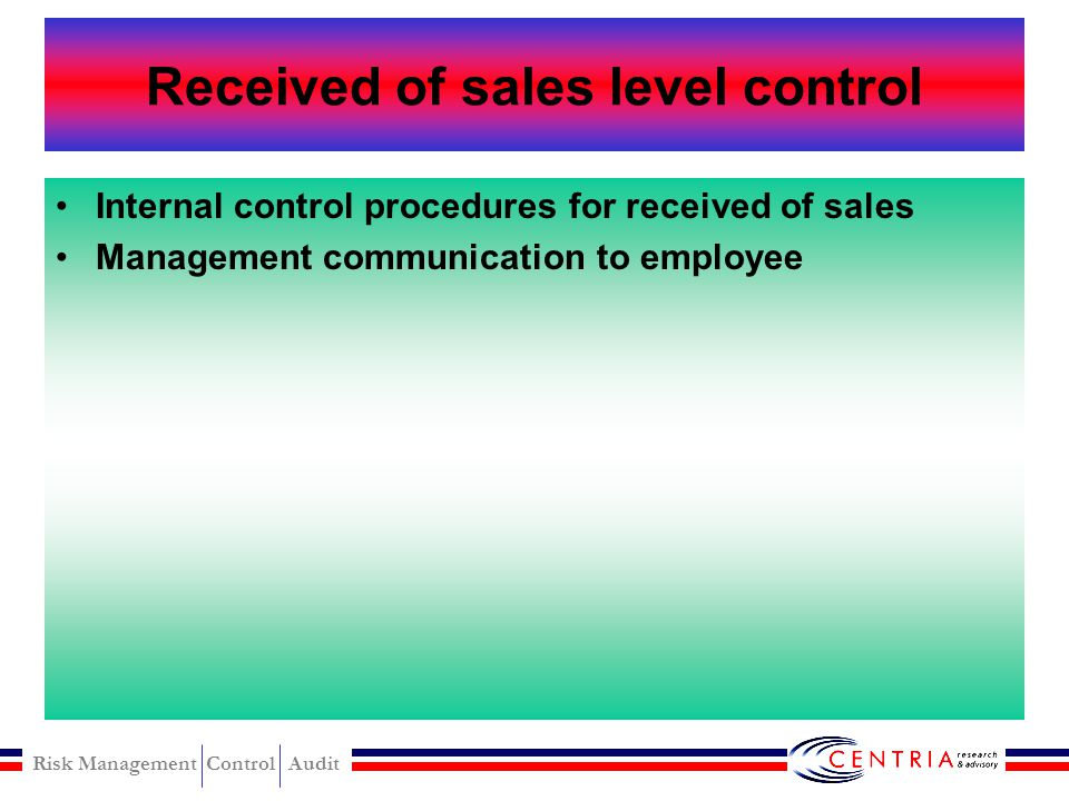 Received of sales level control
