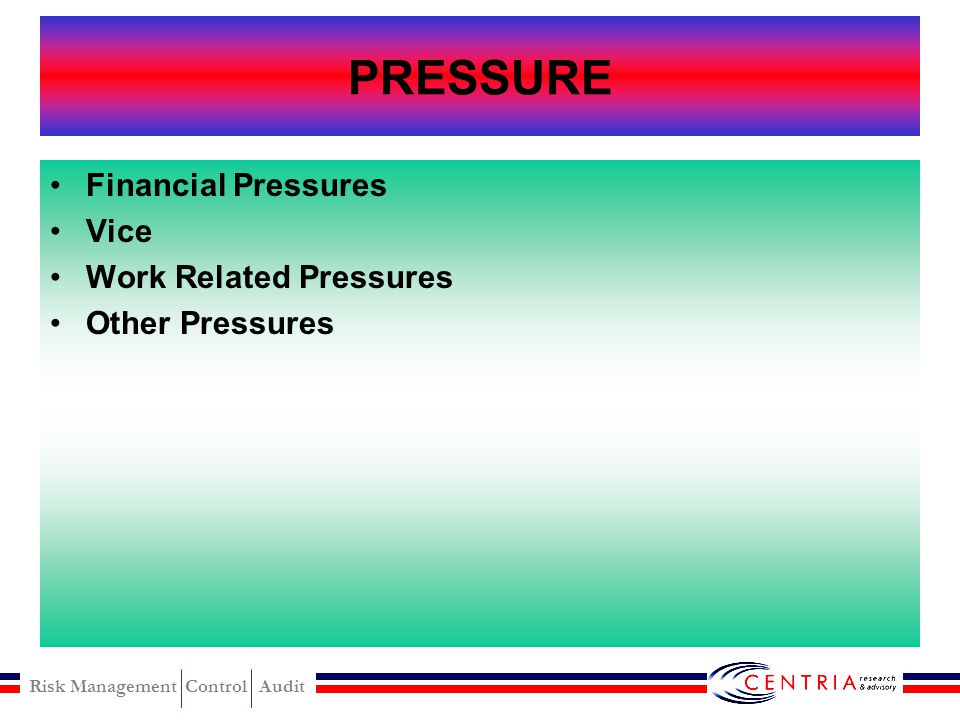 PRESSURE Financial Pressures Vice Work Related Pressures
