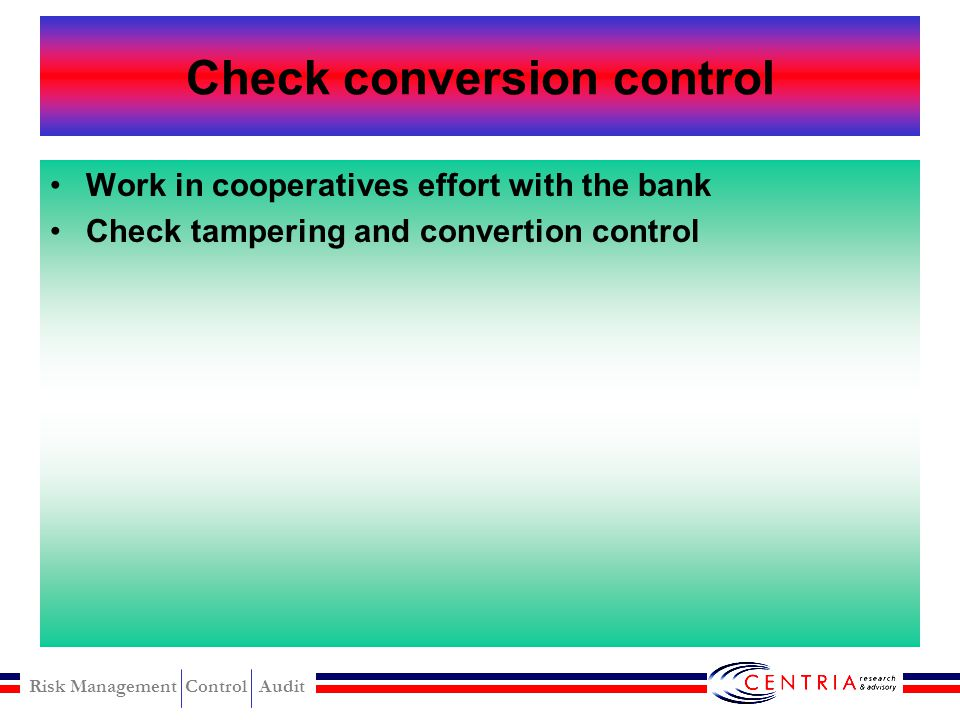 Check conversion control
