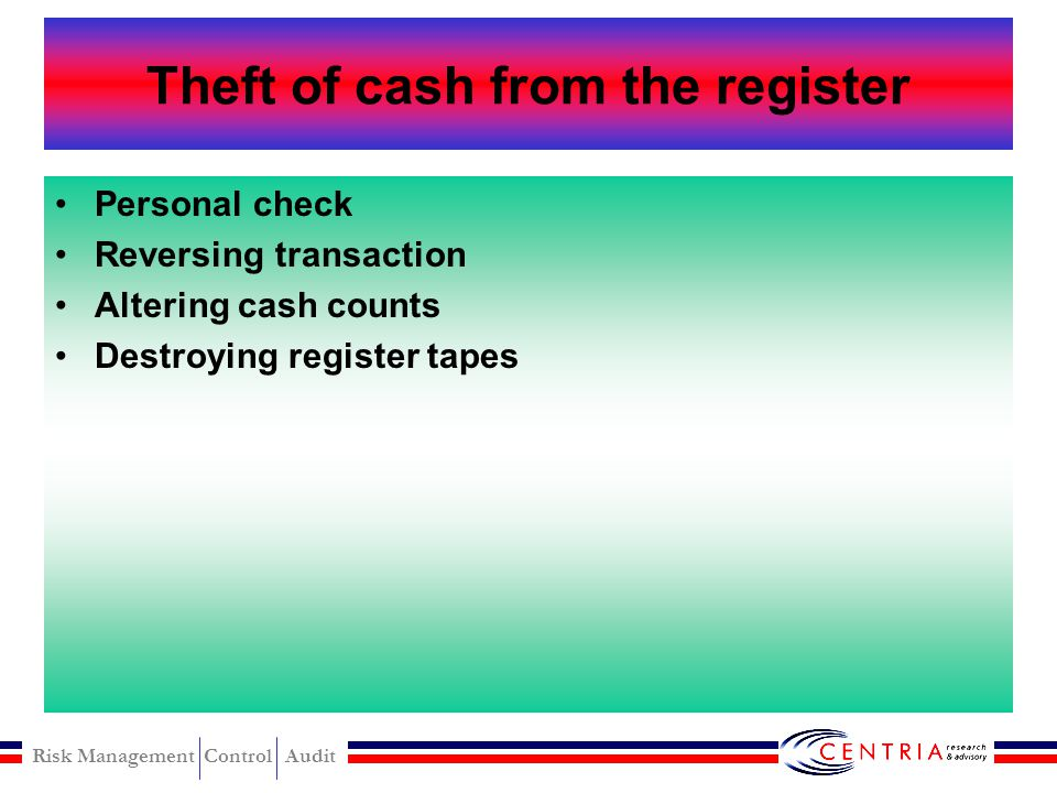 Theft of cash from the register
