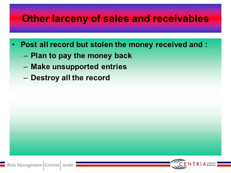 Other larceny of sales and receivables