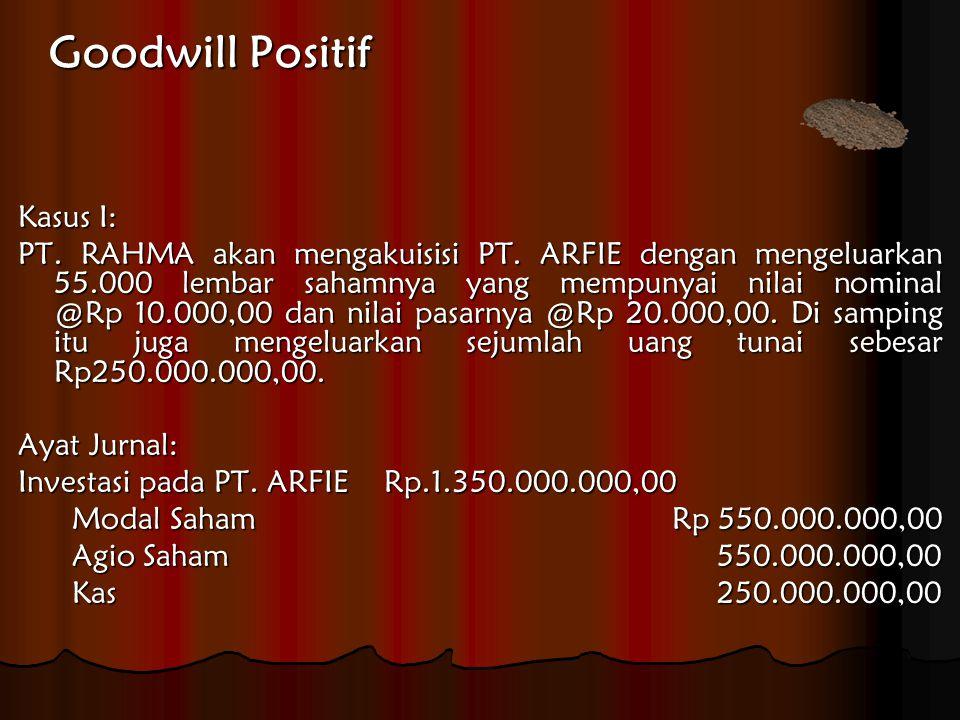 Goodwill Positif Kasus I: