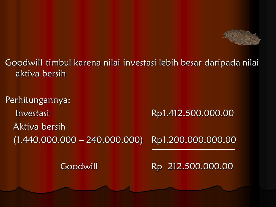 Goodwill timbul karena nilai investasi lebih besar daripada nilai aktiva bersih