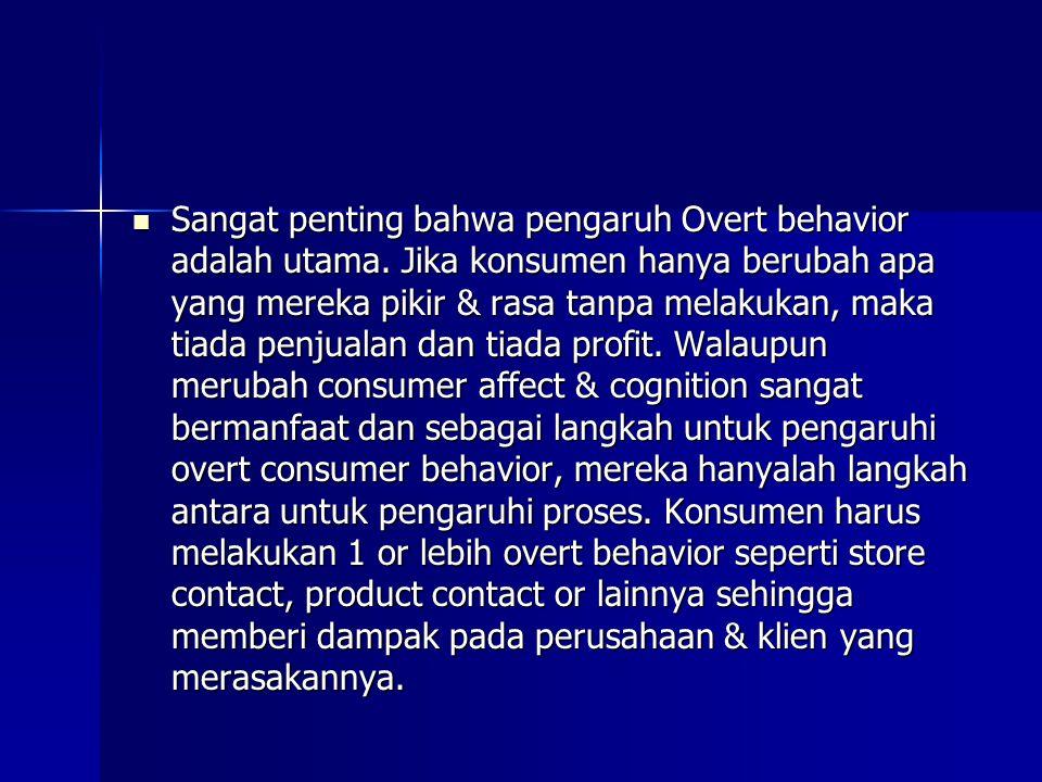 Sangat penting bahwa pengaruh Overt behavior adalah utama