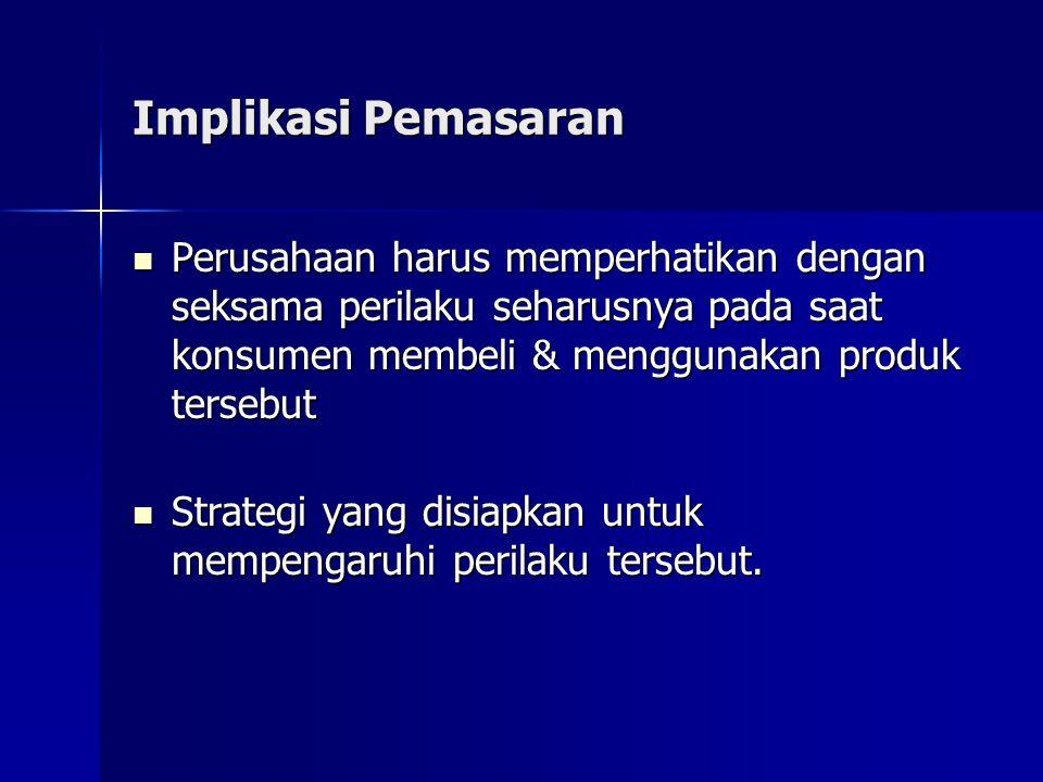 Implikasi Pemasaran Perusahaan harus memperhatikan dengan seksama perilaku seharusnya pada saat konsumen membeli & menggunakan produk tersebut.