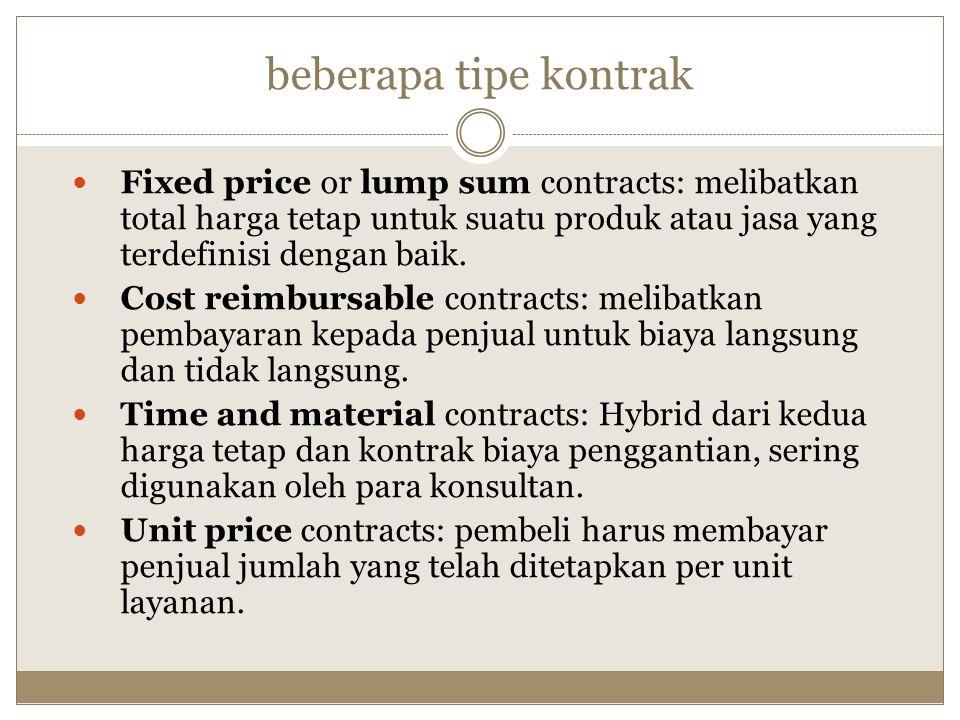 beberapa tipe kontrak Fixed price or lump sum contracts: melibatkan total harga tetap untuk suatu produk atau jasa yang terdefinisi dengan baik.