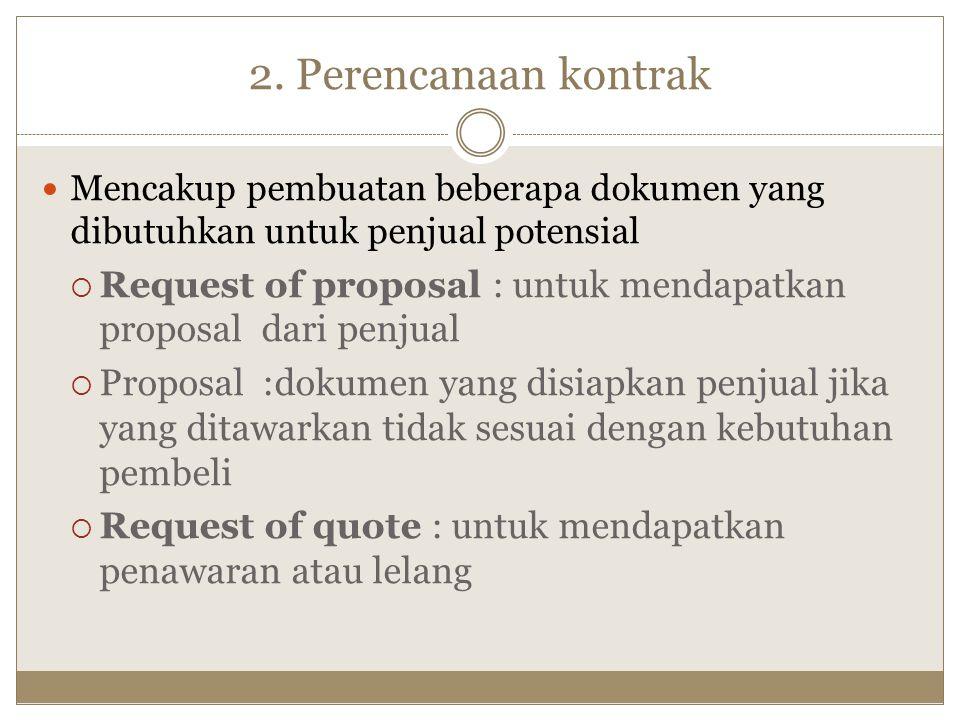 2. Perencanaan kontrak Mencakup pembuatan beberapa dokumen yang dibutuhkan untuk penjual potensial.