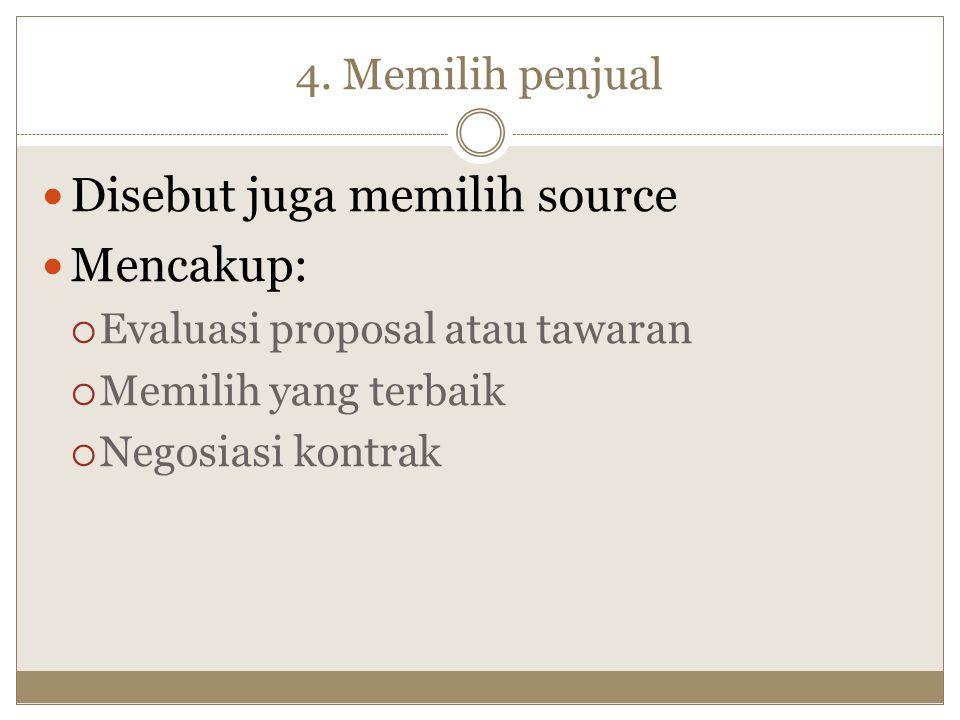Disebut juga memilih source Mencakup:
