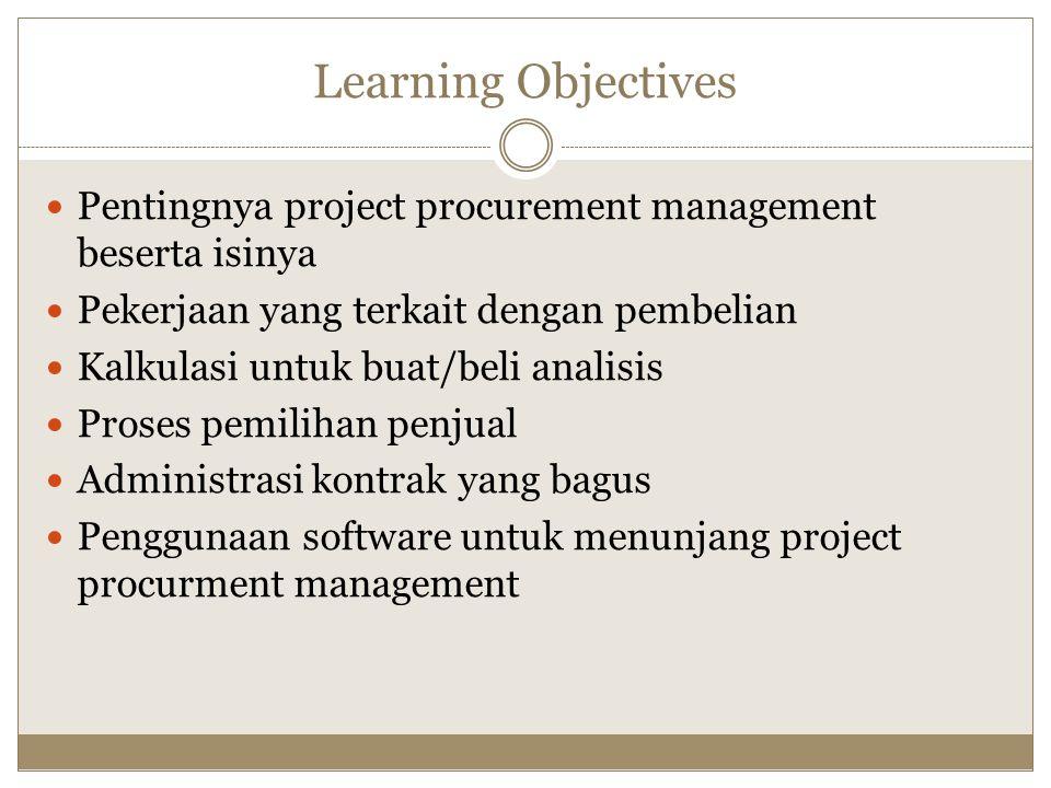 Learning Objectives Pentingnya project procurement management beserta isinya. Pekerjaan yang terkait dengan pembelian.