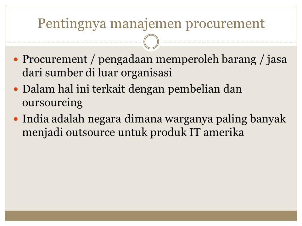 Pentingnya manajemen procurement