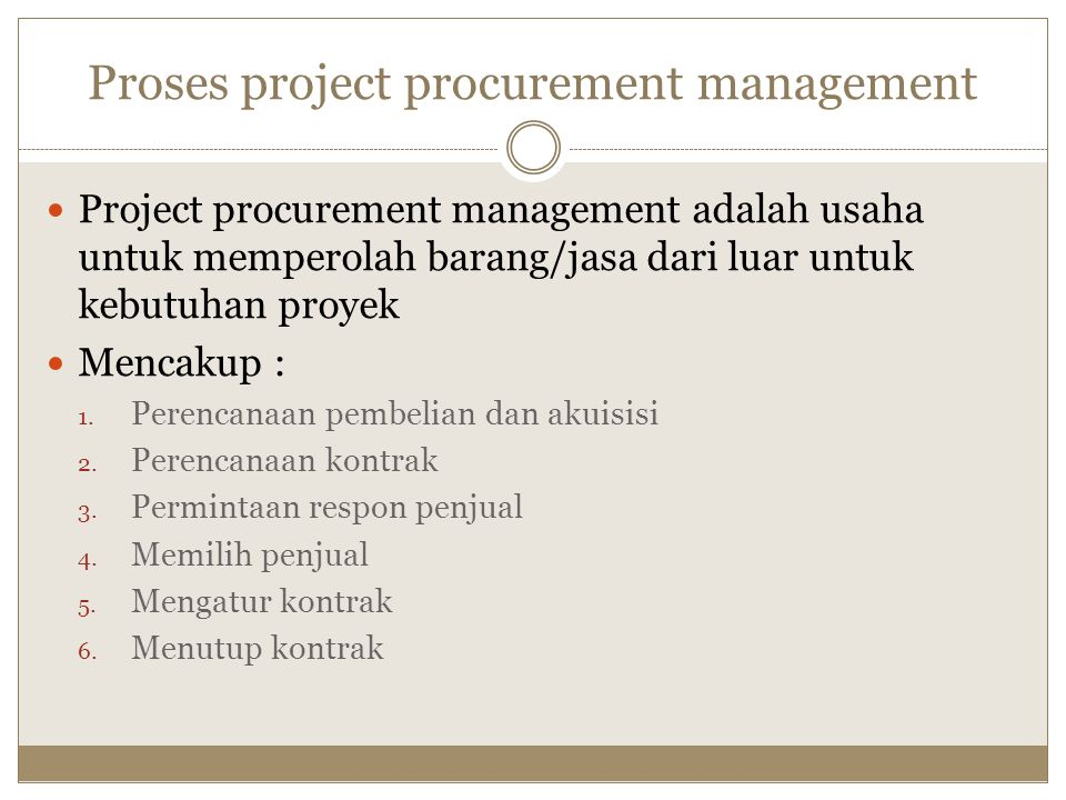 Proses project procurement management