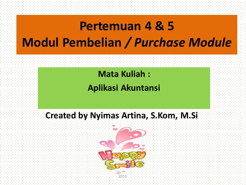 Modul Pembelian / Purchase Module