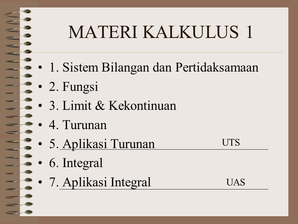 MATERI KALKULUS 1 1. Sistem Bilangan dan Pertidaksamaan 2. Fungsi