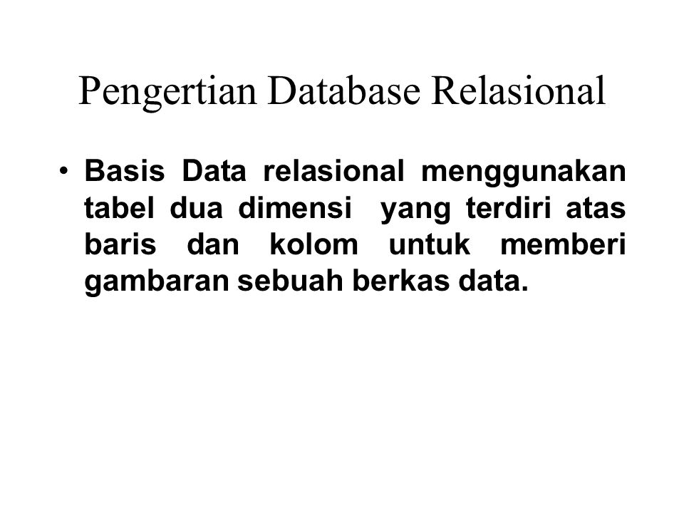 Pengertian Database Relasional