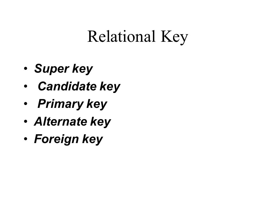 Relational Key Super key Candidate key Primary key Alternate key