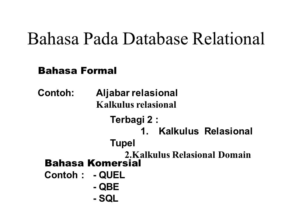 Bahasa Pada Database Relational