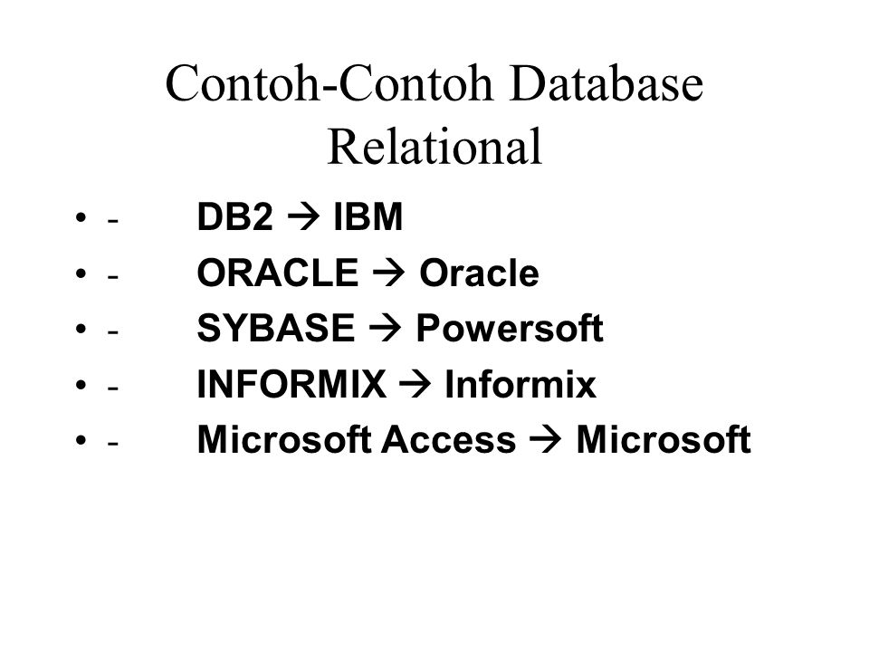 Contoh-Contoh Database Relational