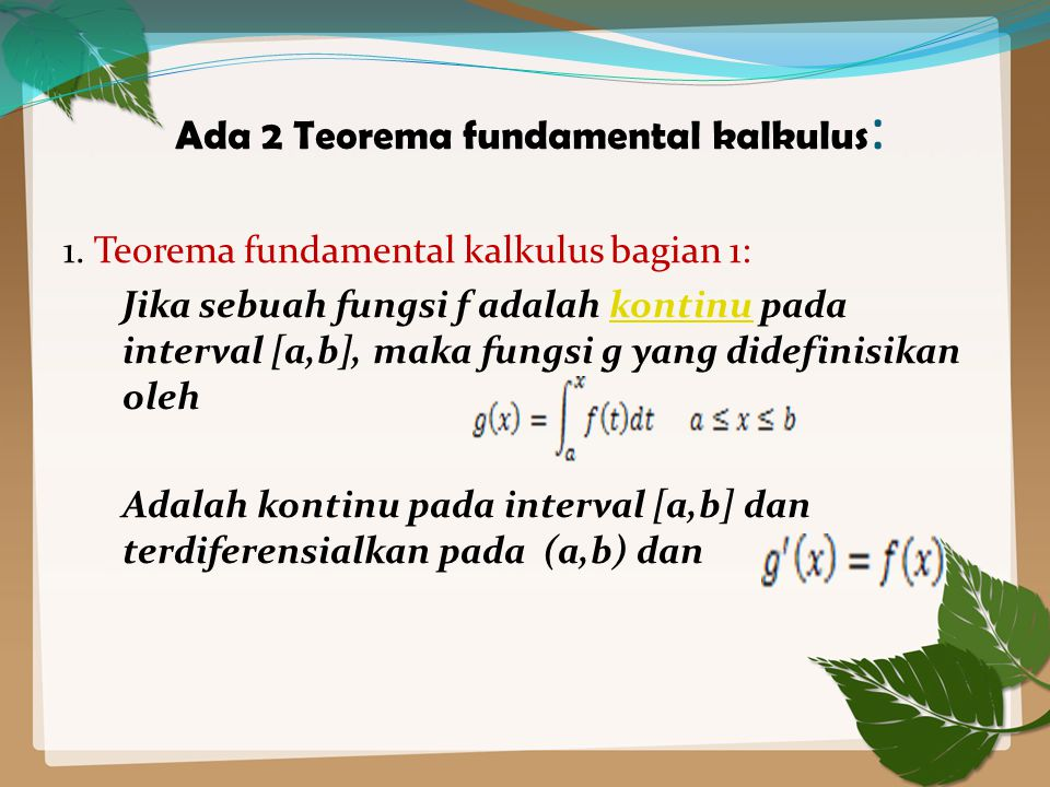 Ada 2 Teorema fundamental kalkulus: