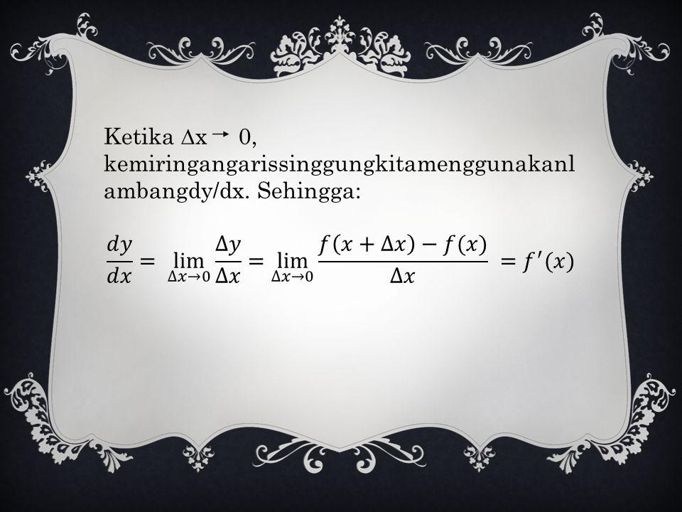 Ketika ∆x 0, kemiringangarissinggungkitamenggunakanlambangdy/dx