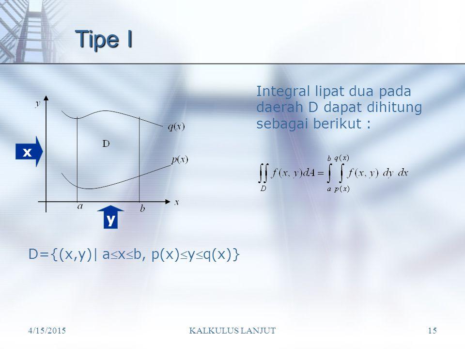 Tipe I Integral lipat dua pada daerah D dapat dihitung sebagai berikut : x. y. D={(x,y)| axb, p(x)yq(x)}