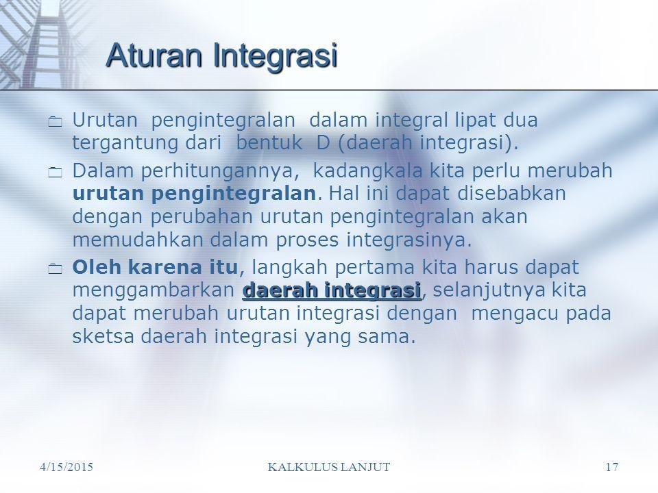 Aturan Integrasi Urutan pengintegralan dalam integral lipat dua tergantung dari bentuk D (daerah integrasi).