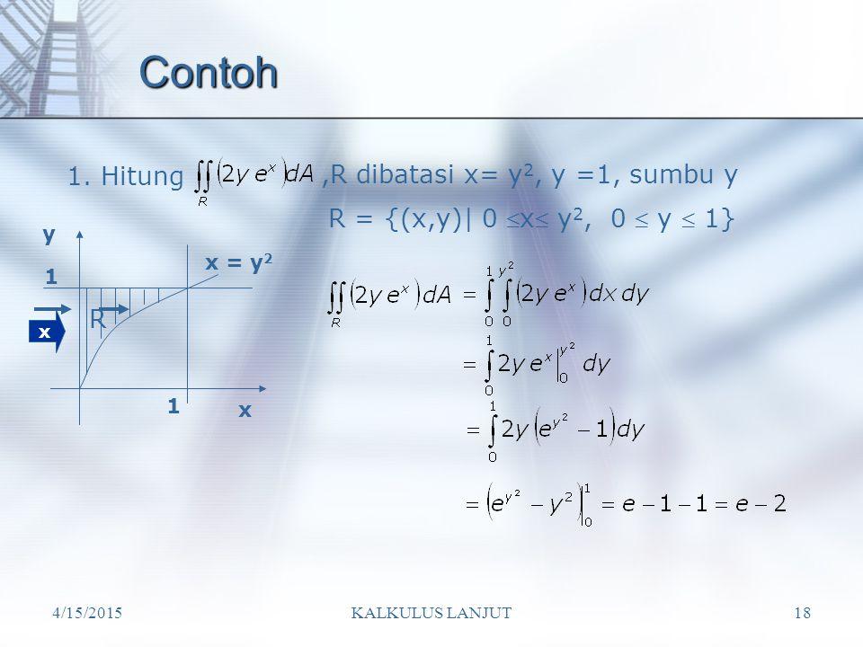 Contoh 1. Hitung ,R dibatasi x= y2, y =1, sumbu y