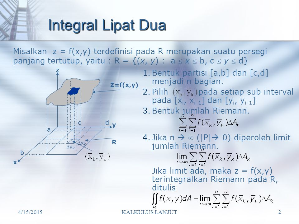 Integral Lipat Dua z Z=f(x,y) y R x
