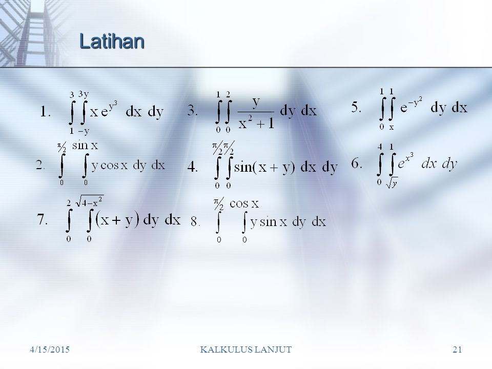 Latihan 4/12/2017 KALKULUS LANJUT