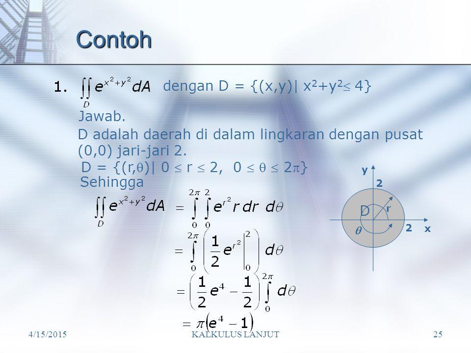 Contoh dengan D = {(x,y)| x2+y2 4} Jawab.