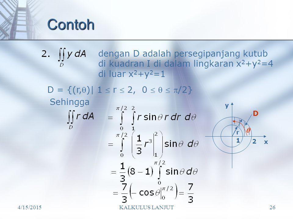 Contoh dengan D adalah persegipanjang kutub