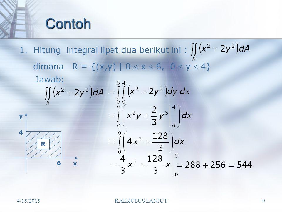 Contoh 1. Hitung integral lipat dua berikut ini :