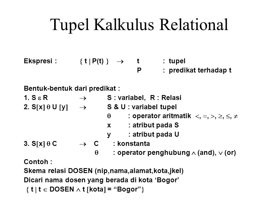 Tupel Kalkulus Relational
