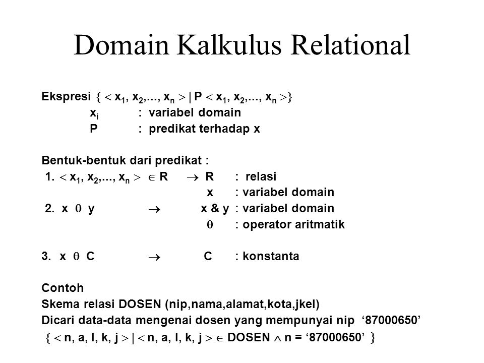 Domain Kalkulus Relational