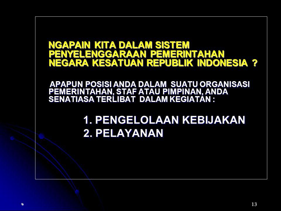 NGAPAIN KITA DALAM SISTEM PENYELENGGARAAN PEMERINTAHAN NEGARA KESATUAN REPUBLIK INDONESIA