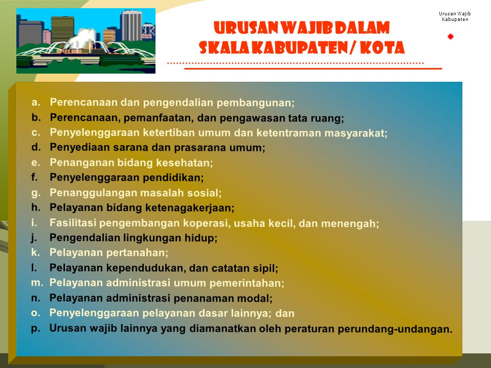 Urusan Wajib Kabupaten