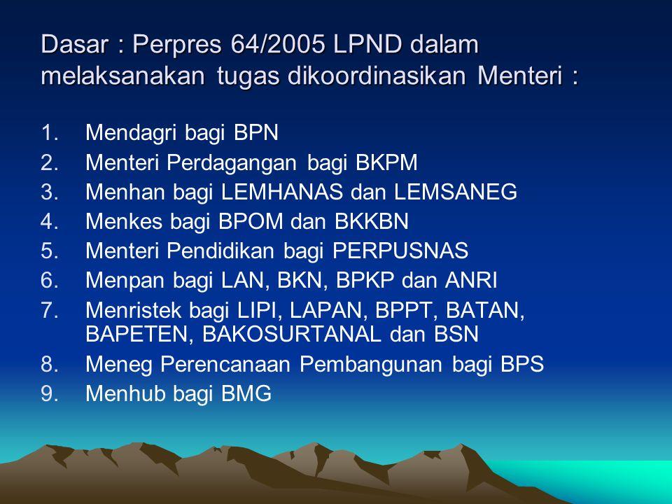 Dasar : Perpres 64/2005 LPND dalam melaksanakan tugas dikoordinasikan Menteri :