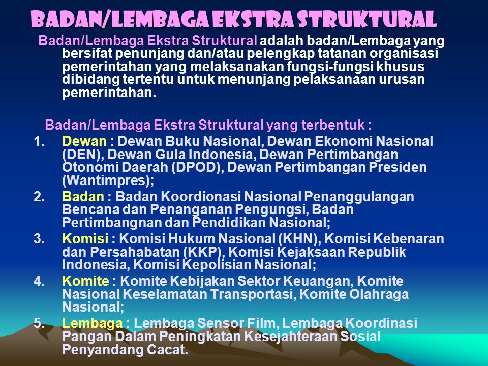 Badan/Lembaga Ekstra Struktural