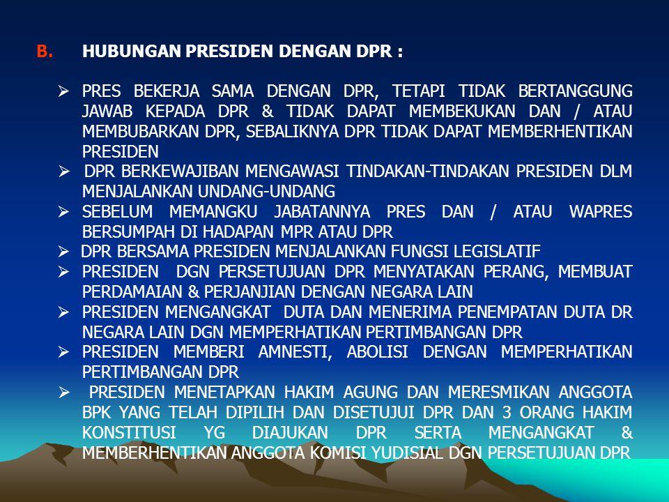 HUBUNGAN PRESIDEN DENGAN DPR :