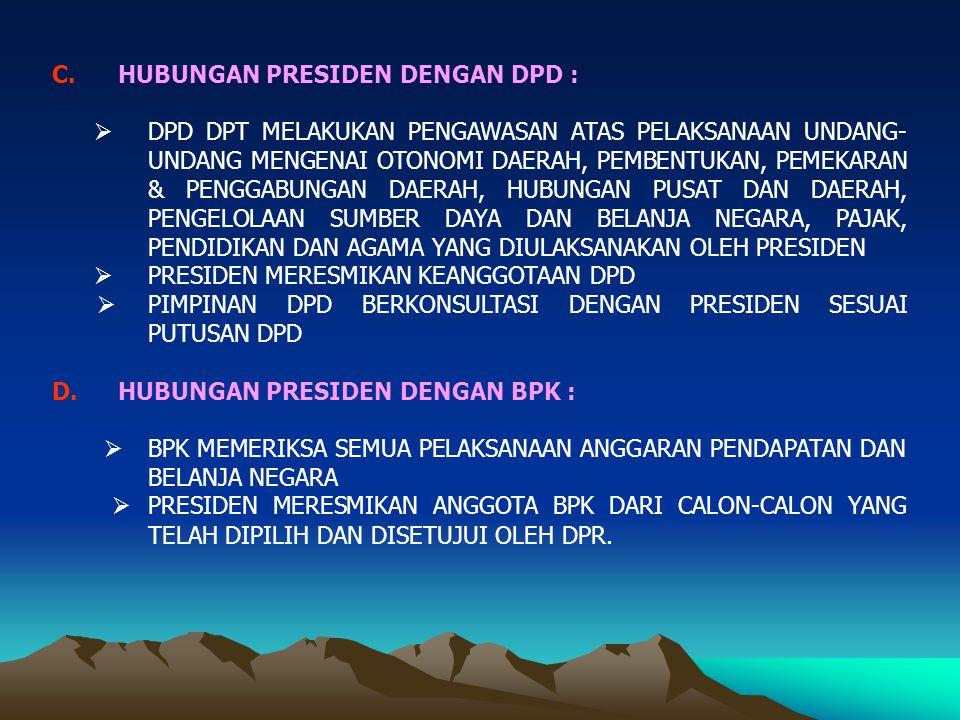 HUBUNGAN PRESIDEN DENGAN DPD :