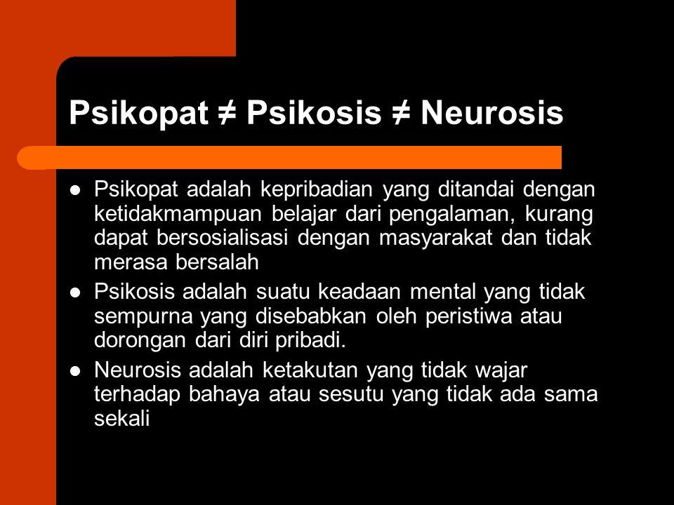 Psikopat ≠ Psikosis ≠ Neurosis