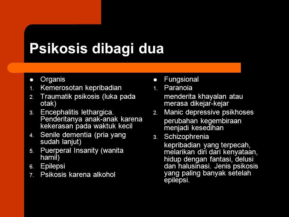 Psikosis dibagi dua Organis Kemerosotan kepribadian