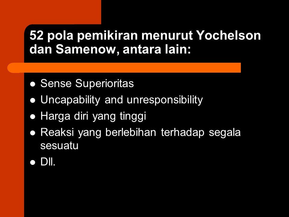 52 pola pemikiran menurut Yochelson dan Samenow, antara lain: