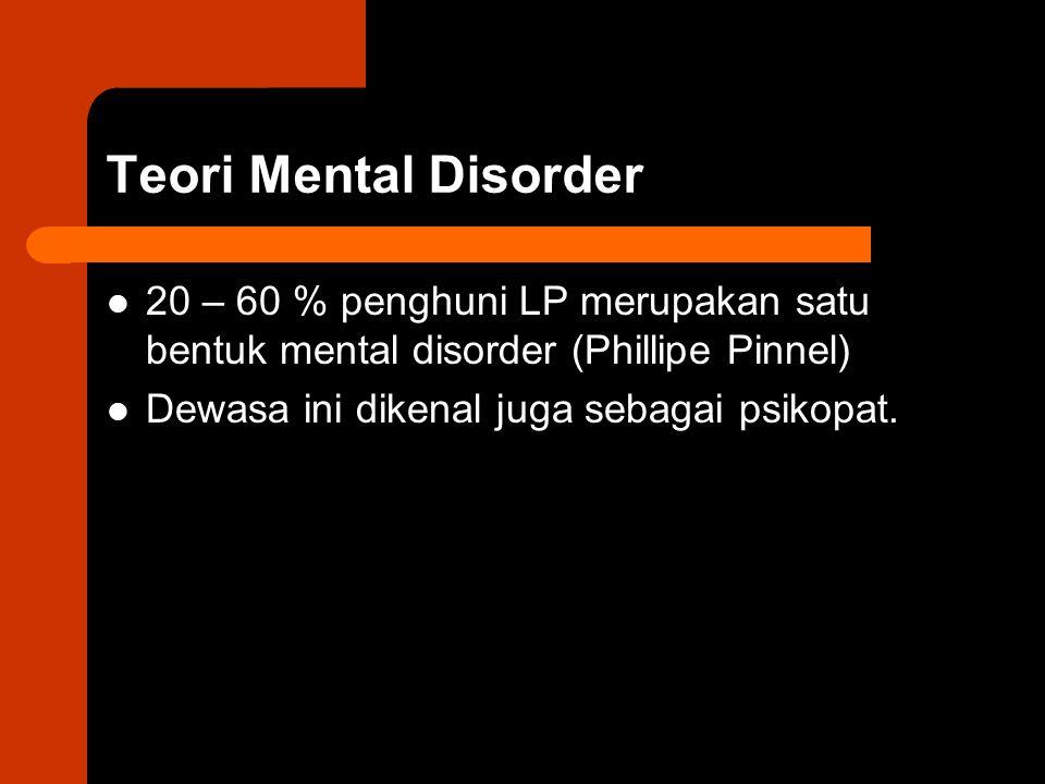 Teori Mental Disorder 20 – 60 % penghuni LP merupakan satu bentuk mental disorder (Phillipe Pinnel)