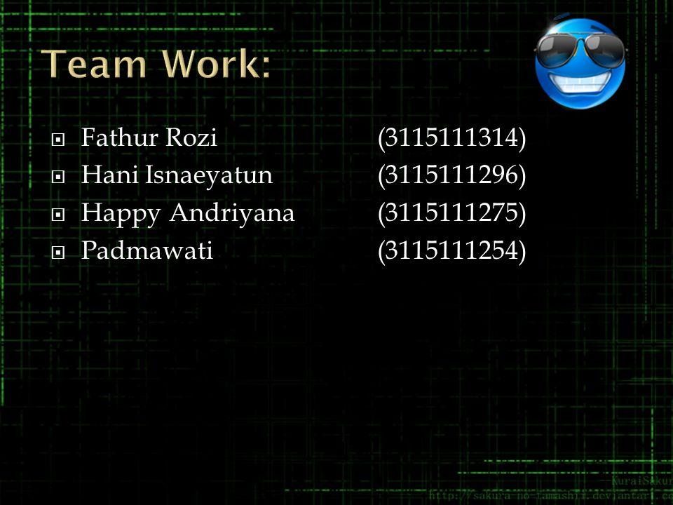 Team Work: Fathur Rozi (3115111314) Hani Isnaeyatun (3115111296)