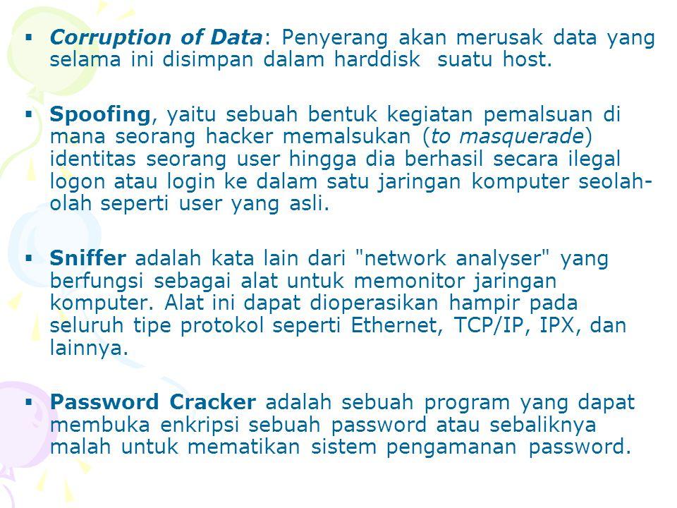Corruption of Data: Penyerang akan merusak data yang selama ini disimpan dalam harddisk suatu host.