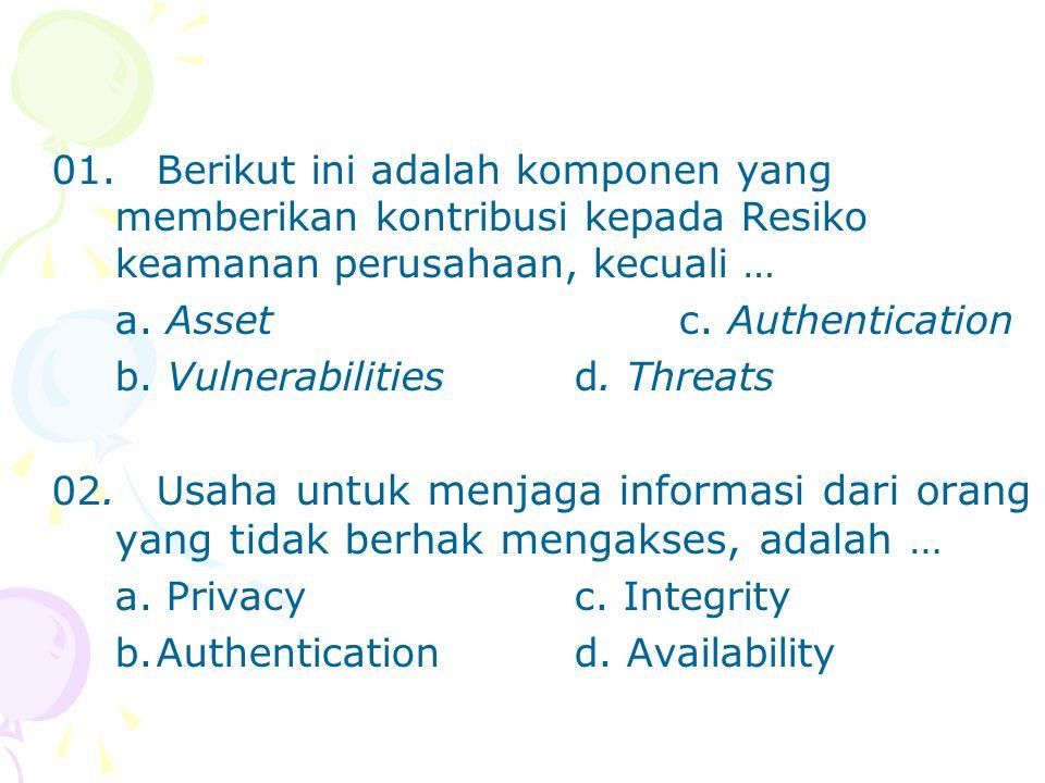01. Berikut ini adalah komponen yang memberikan kontribusi kepada Resiko keamanan perusahaan, kecuali …