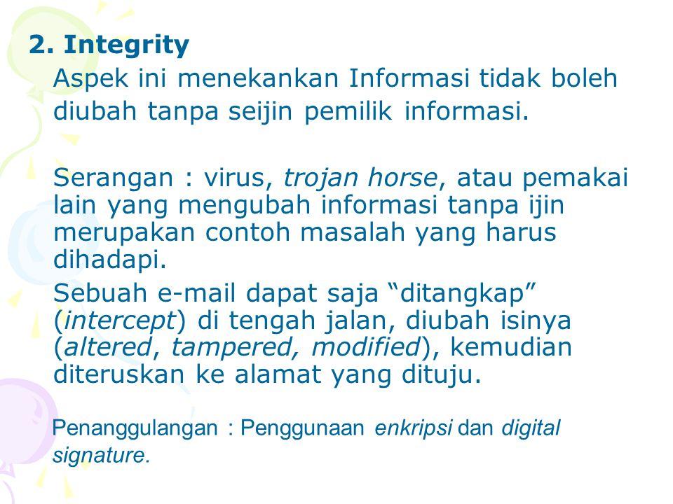 Aspek ini menekankan Informasi tidak boleh