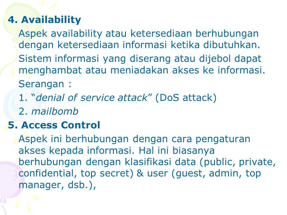 4. Availability Aspek availability atau ketersediaan berhubungan dengan ketersediaan informasi ketika dibutuhkan.